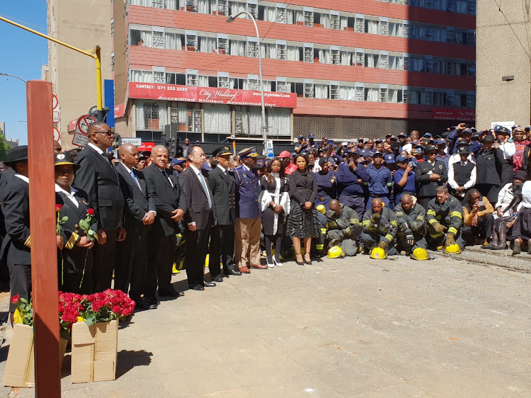 The wreath laying ceremony of the three firefighters that died last week.