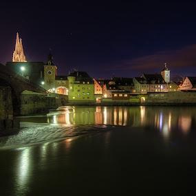 Downstream by Matthias Weigel - Buildings & Architecture Public & Historical ( regensburg, fog, stone bridge, night, world heritage, ratisbona, unesco, pwcskylines )
