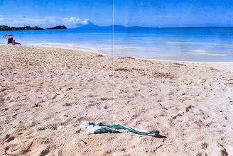 Photo: Hroší šála v Karibiku na ostrově Montseraut na pláži Antignai. V pozadí je sopka SOUFRIERE HILLS.
