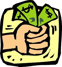 [Image is a drawing of a light skinned hand grabbing three green $ bills. The background is a yellow square.]