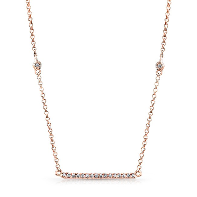 14k Rose Gold White Diamond Bar Necklace by MK Diamonds