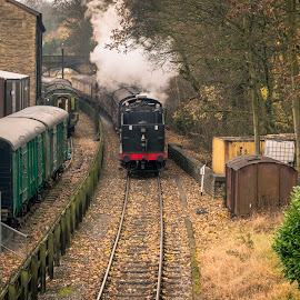 Running Backwards by Darrell Evans - Transportation Trains ( wheels, carriage, old, transport, building, vehicle, outdoor, pullman, engine, locomotive, steam, bridge, railway, track, train )