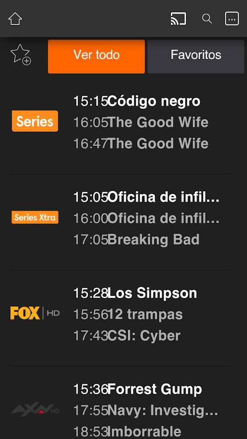 Orange TV: captura de pantalla