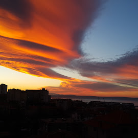 Sunrise woth unusual clouds by Ivan Mestrovic - Novices Only Landscapes ( rijeka, clouds, nofilter, novice, croatia, sea, unusual, cityscape, sunrise, morning, photography, city )