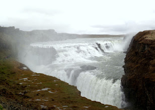 Photo: Gullfoss waterfalls has three tiers of rushing water that flow into a one hundred foot crevice. There was a lot of spray and noise.