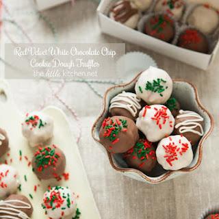 Red Velvet White Chocolate Chip Cookie Dough Truffles.