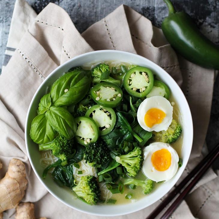 Vegetarian Ramen with Garlic-Ginger Broth Recipe
