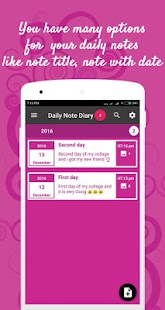 Daily note diary - náhled