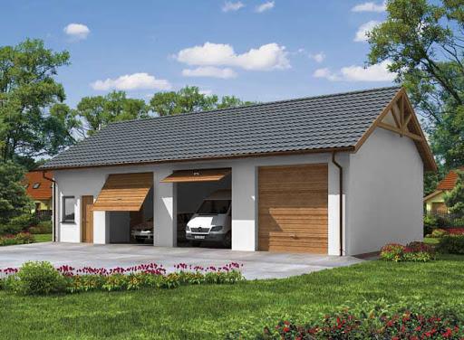 projekt G38 szkielet drewniany, garaż trzystanowiskowy z pomieszczeniami gospodarczymi