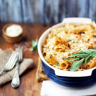 Creamy Baked Rigatoni With Butternut Squash & Goat Cheese.