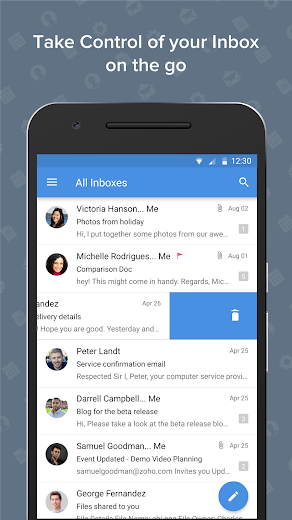 Screenshot 1 for Zoho Mail's Android app'