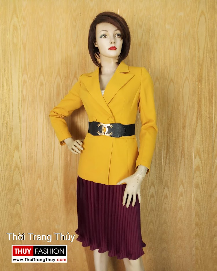 Áo vest nữ công sở màu vàng cháy V658 tại hải phòng 2