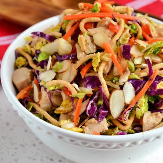 This Tasty And Healthy Light Chinese Chicken Salad Comes Together In Less Than Twenty Minutes Using Already Cooked Chicken. The Six Ingredient Sweet Ginger Soy Based Vinaigrette Can Be Prepared Up To Three Days In Advance.