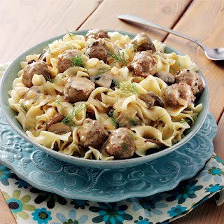 Meatball and Mushroom Stroganoff With Dill Sauce.