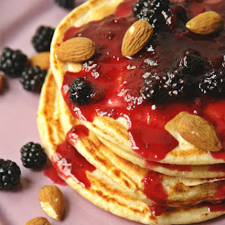 Whole Wheat Buttermilk and Blackberry Pancakes.