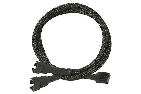 Forgrener, 4 pins PWM til 2x4 pins PWM, kabelstrømpe, 30 cm, sort