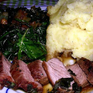 Spring Lamb With Yogurt Potatoes and Spinach