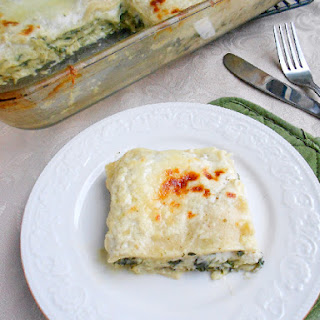 Spinach Lasagna with Pesto Bechamel Sauce.