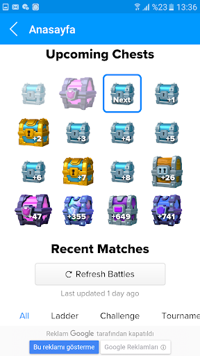 Stats Clash Royale Next chest for PC