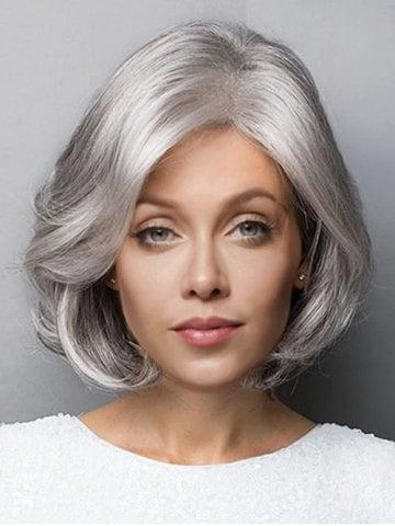 Short Side Parting Fluffy Slightly Curled Bob Synthetic Wig