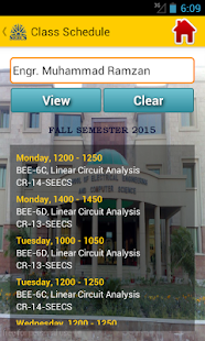 SEECS SCHEDULES screenshot