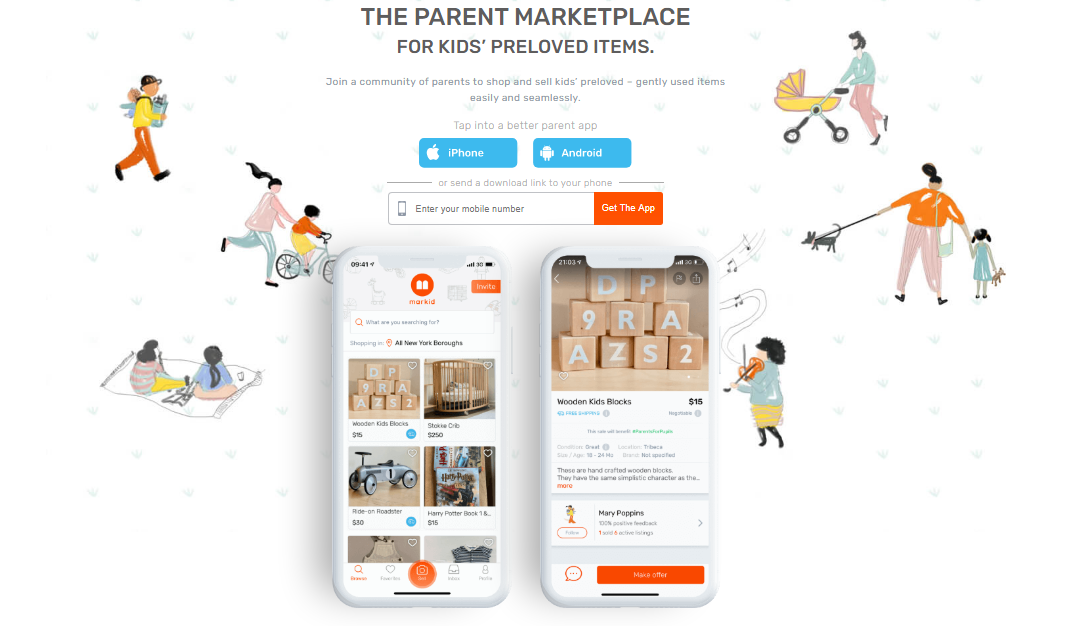 UI/UX design for buying and selling app for kid's used items