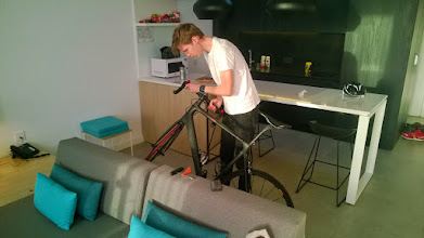 Photo: Jens building up his bike.