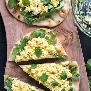 Curried Egg Salad on Naan