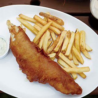 Fried Beer-Battered Fish and Chips with Dilled Tartar Sauce.