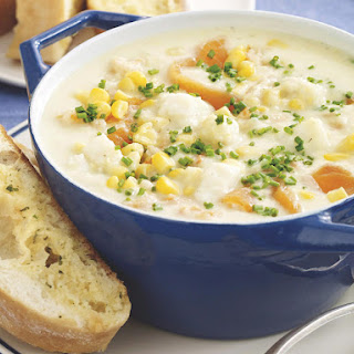 Seafood Chowder with Garlic Bread.