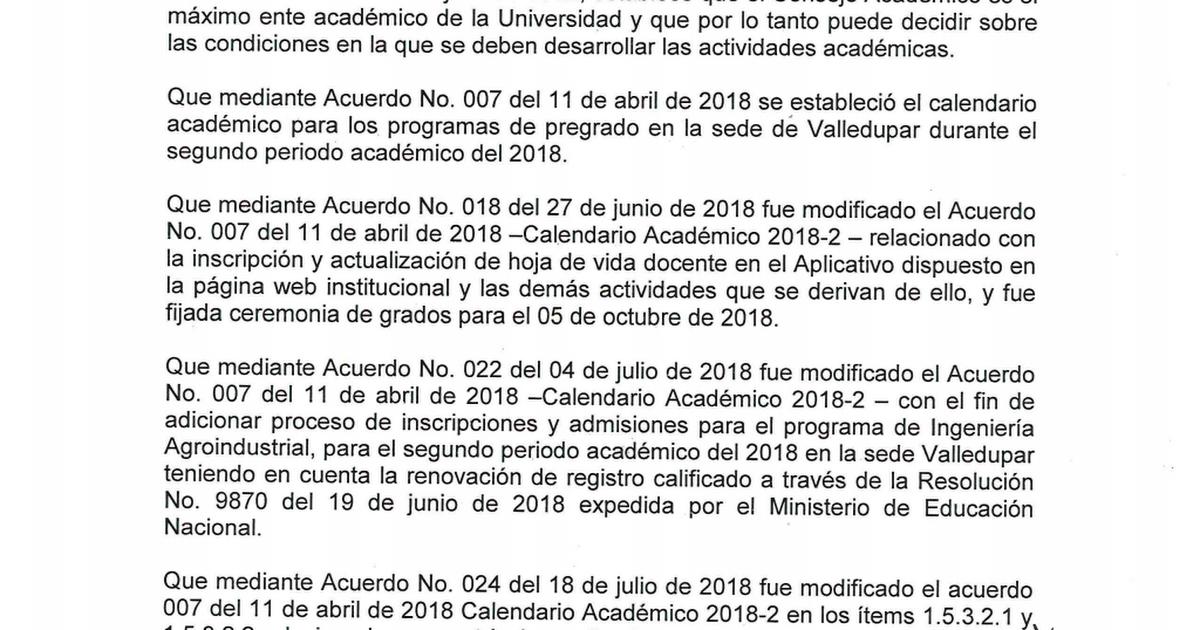 Calendario Academico Us.Acuerdo No 057 Del 05 De Diciembre De 2018 Se Ordena Reanudar