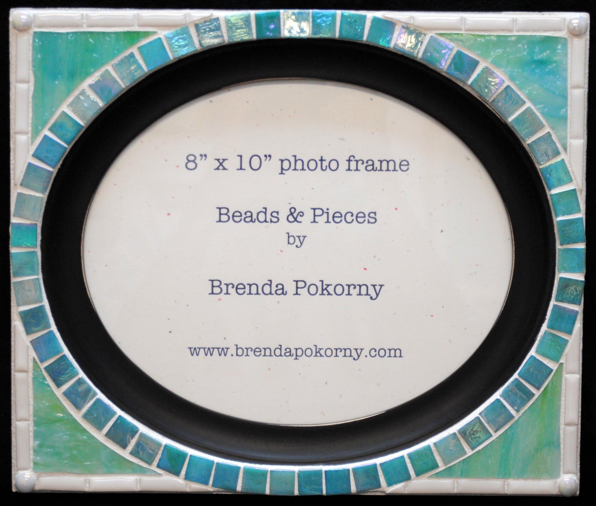 "Turquoise & Aqua Oval 8"" x 10"" Mosaic Photo Frame MOF1458"