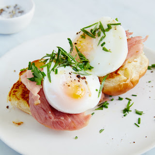 Open-Face Egg and Griddled Ham Breakfast Sandwiches.