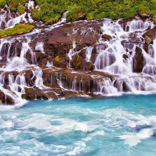 Waterfall Hraunfossar Puzzles