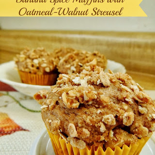Banana Spice Oatmeal-Walnut Streusel Muffins