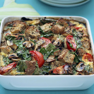 Mushroom and Spinach Bread Pudding