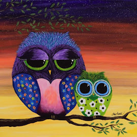 At Dusk With Mommy & Baby Owl by Lori Lovell - Painting All Painting ( painting, dusk, acrylic, fine art, owls, abstract )