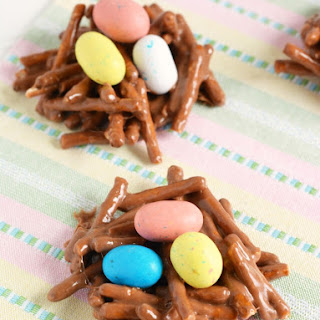 Nutella Covered Pretzels Robin Egg Nests Recipe for Easter