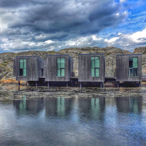 Artist Studios by the sea by Eva Larsson - Buildings & Architecture Office Buildings & Hotels ( holiday studios sea clouds cliffs reflecting sweden )