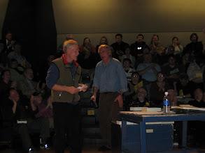 "Photo: Mike Therriault, ""Minnesota 8,"" & Prof. Alan Hooper, biologist"