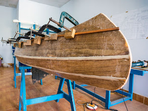 Photo: the boat's eyes will be above this outer gunwale lines