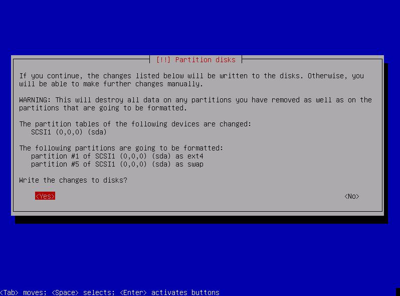 Нажмите Yes для подтверждения разбиения диска. Весь процесс установки займет 10-20 мин., в зависимости от производительности сервера, после чего система перезагрузится. Затем начнется автоматическая установка 3CX.