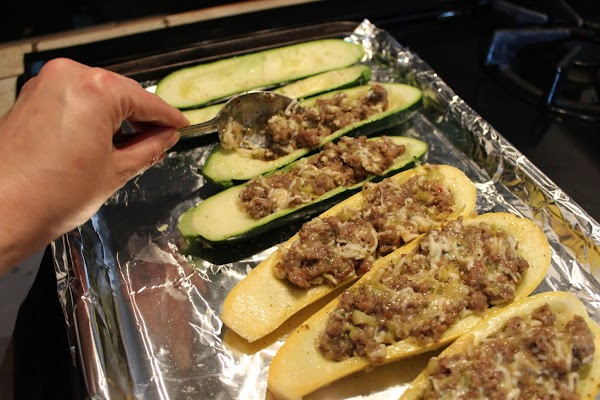 Fill the shells with stuffing. Cover with foil and bake in 375 degree oven...