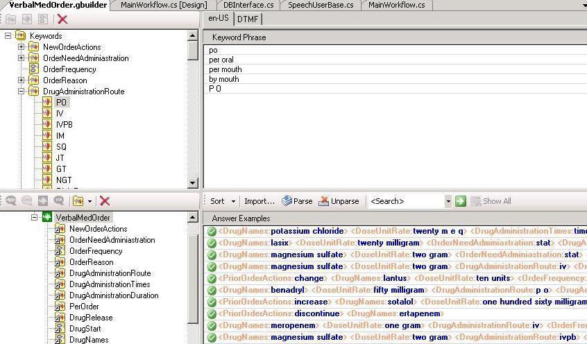 Conversational Grammar Builder screen shot for medication order capture