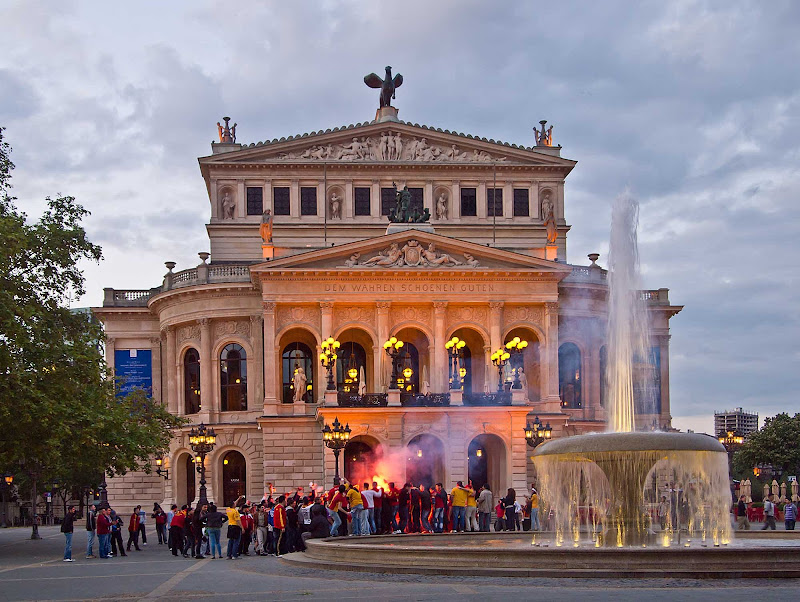 Alte Oper (Old Opera), a concert hall and former opera house in Frankfurt, Germany, was destroyed by bombs in 1944. It was rebuilt and reopened in 1981.