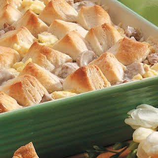 Creamy Sausage Casserole with Biscuits.