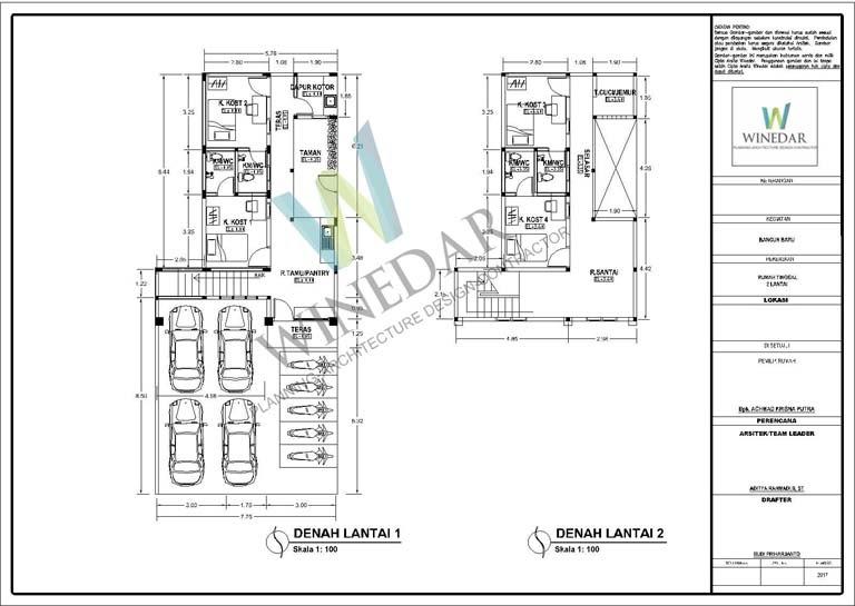 Denah 2D Guesthouse dan Kost di Jogja