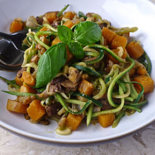 Courgetti with Butternut Squash and Porcini Mushroom Sauce.