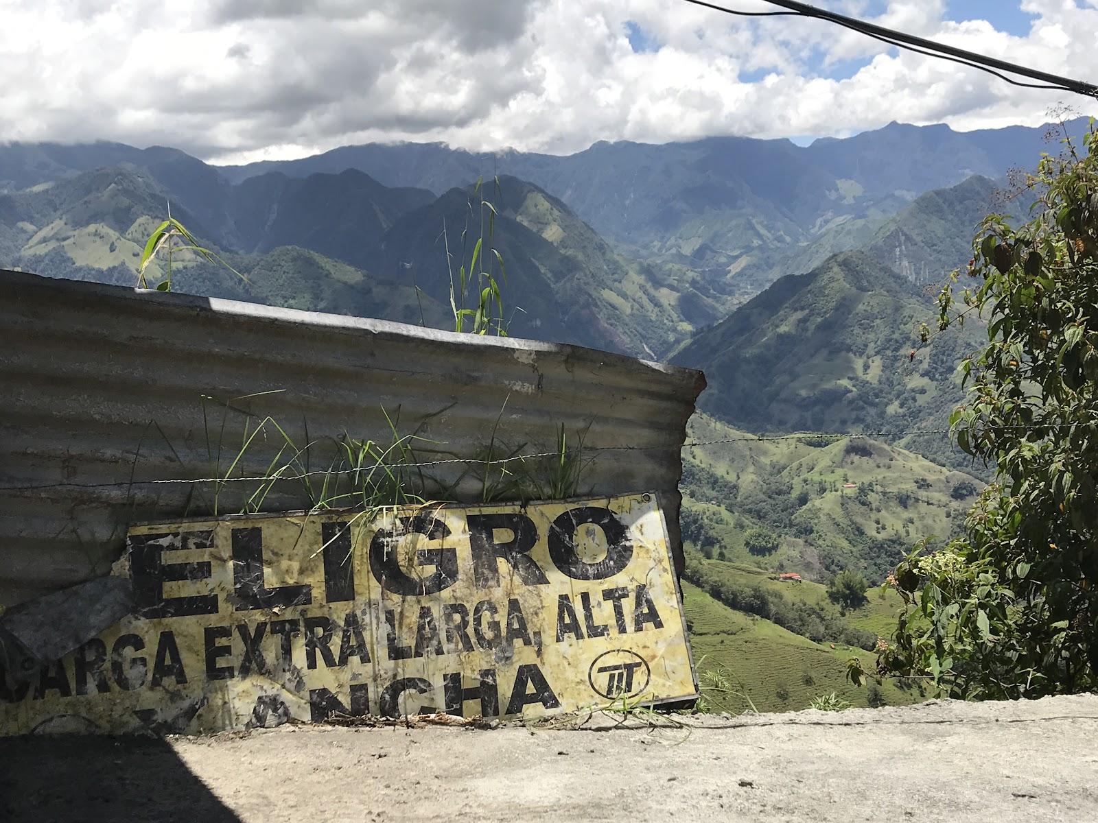 Sign on Alto de Letras road bike climb