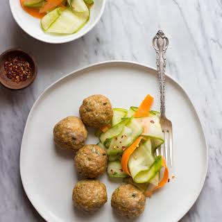 Asian-Style Pork Meatballs + Sesame Cucumber Salad.